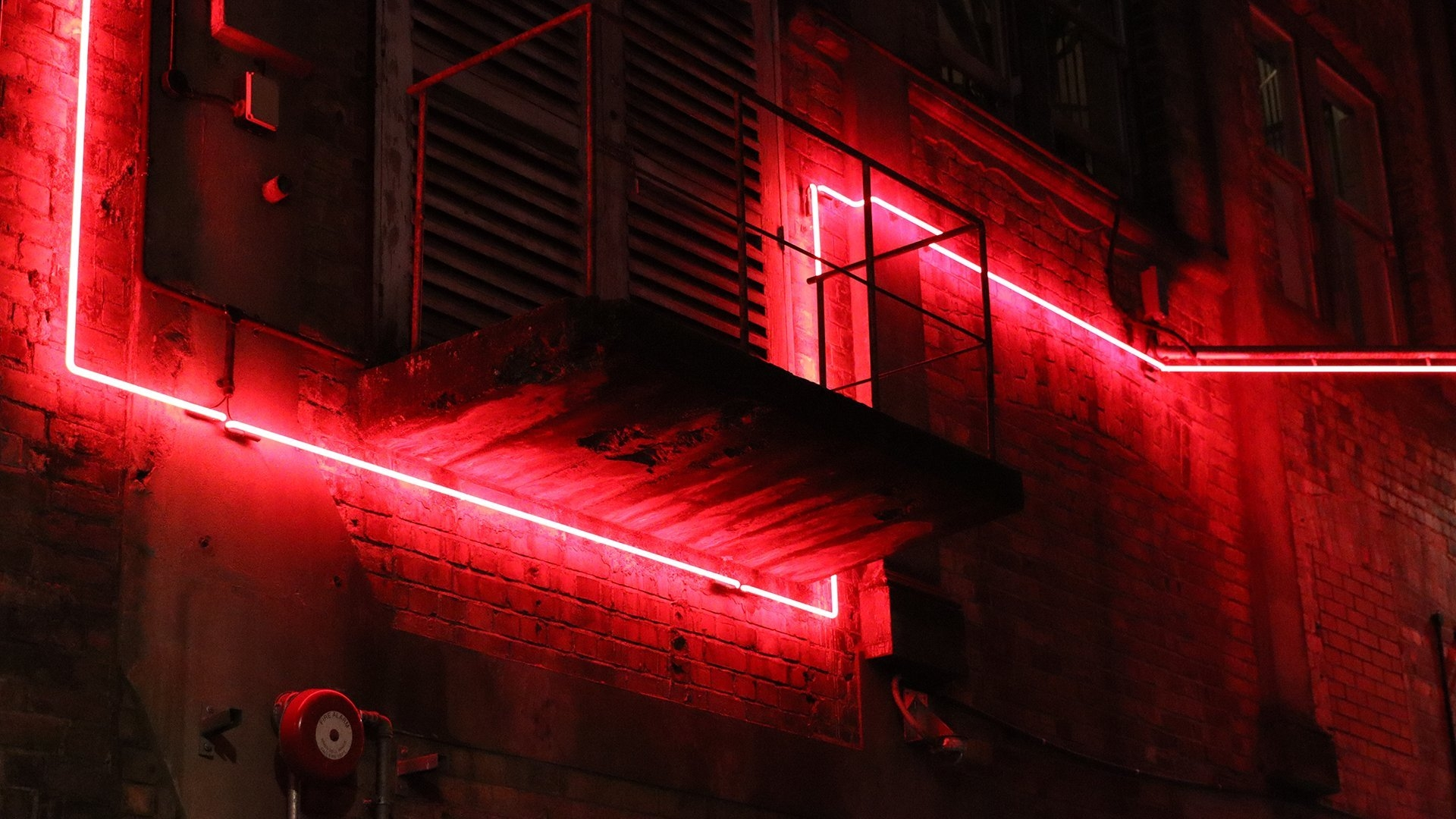 Urban scene with red lighting